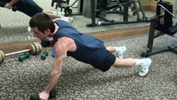 renegade dumbbell row exercise
