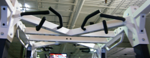 Various handle grips for pull-up exercises on Hammer Strength power rack or workstation